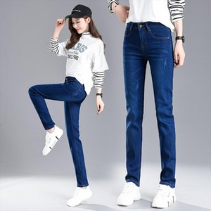 Brand Pants 2019 Scratched Straight Elastic Skinny Jeans Women Fashion Womens Clothing Jeans Full Length Pants Plus Size 34