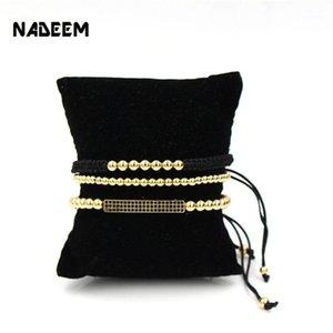 Nadeem Anil Arjandas 3pcs / set Pavimentazione da uomo Impostazione Black CZ Bar Braccialetto con cinturino da 5 mm di rame intrecciata Bracciale macrame Set1