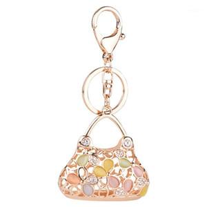 키 체인 패션 매력 키 체인 라인 석 핸드백 모양의 디자인 키링 선물 소녀 크리스탈 반짝 반짝 빛나는 지갑 가방 Chaveiro feminino1