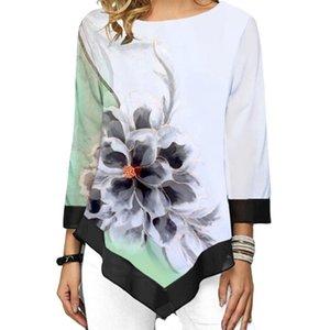 Mode Floral Print T-Shirt Langarm Frauen Sommer T Shirts Große Größe Casual Lange Tshirts Digitaldruck Camiseta Mujer