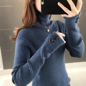Womens Turtleneck Sweater Thickened 2020 Autumn and Winter New Pullover Womens Knitted Coat Turned Cuff Bottoming Shirt with Western Style