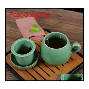 Chinese Porcelain Tea Cup With Lid And Infuser Strainer Teacup Celadon Teapot Mug Gift Drinkware qyluDE packing2010