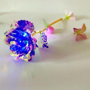 Feuille d'or 24k plaqué rose a conduit fleur arc-en-ciel plaqué or lumière rose valentine cadeau de noël décorations de mariage zzc2490