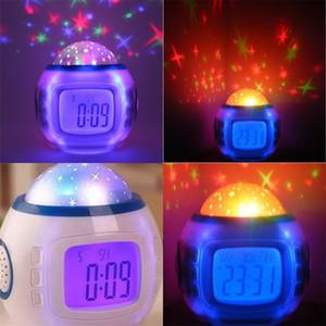 أصالة نجمية السماء الإسقاط ساعة ملونة شاشة زرقاء شخصية الرقمية المنبه الموسيقى مصابيح المنزل تزيين 19xj F2
