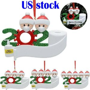 US Stock 2020 Quarantine Christmas Birthdays Party Decoration Gift Personalized Family Of 2 3 4 5 6 7 Ornament Pandemic Social Distancin