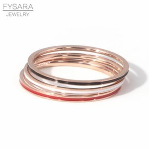 Fysara Titanium Steel Rose Gold Color 1mm Thin Ring For Women Tail Knuckle Finger Ring Enamel Fashion Jewelry Love Ring Size 2 9 sqcsGD