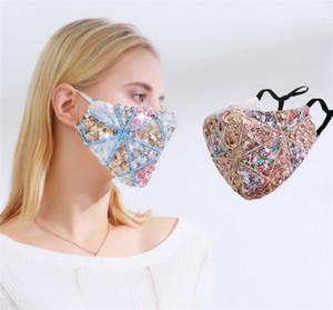 Diamond Diamond Sequins Colorful Bling Mask Funny Print Love Ear Ear Ear Viento Aftoable Ajustable Polvo a prueba de polvo Máscara de Cara con Filtro
