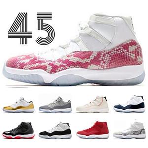 Discount homens mulheres 11 sapatos de basquete New Hight Rosa Snakeskin Espaço Geléia Criado Alto Esporte Concord 45 Sapatilhas de Trainer Cinza Cool Tamanho 36-47