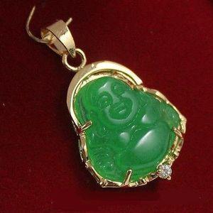 Wholesale cheap fine green jade tiger eye stone bless Happy Buddha Guanyin pendant