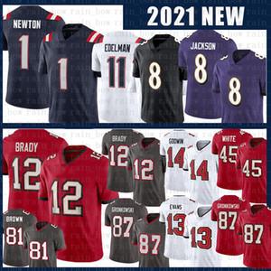 12 Tom Brady Antonio Braun 8 Lamar Jackson Rob Gronkowski Fußball Jersey Cam Newton Julian Edelman Jarrett Stidham Mike Evans Chris Godwin