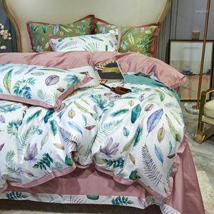 Luxury Flower Digital Printing Series 600TC Egyptian Cotton Bedding Set Duvet Cover Bed Sheet Flat Sheet Bedclothes #sw1