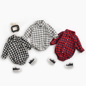 Newborn Baby Boy Romper Grid Jumpsuit Long Sleeves Infant Princess Onesies Ins Xmas Bodysuit With Pocket Clothes