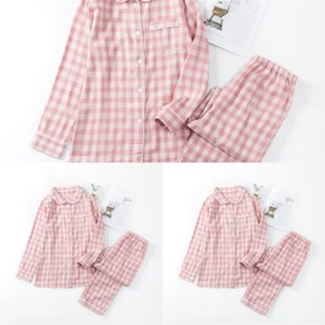 640 Smart Casual New Turn plaid pajamas Sleepwear Collar Down Sets Mens Pajama Set Homesuit Homeclothes Pajamas Short Sleeve Long MUJI-style