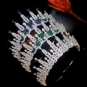 고품질 블루 티아라 전체 큐빅 지르코니아 공주 퀸 크라운 드레스 웨딩 웨딩 브라 타라 그린 크라운