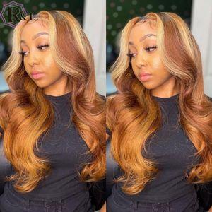 Rulinda Highlight Ombre Color Бразильский кружевной фронт человеческих волос парики с детским волосами для волос Волна кружевной парики Remy T-часть