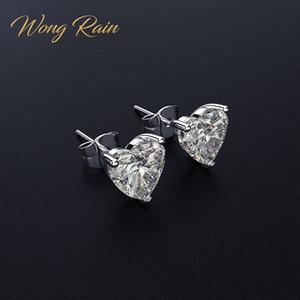 Wong lluvia clásico 100% 925 plata esterlina creada moissanite gemstone aniversario boda aretes de corazón joyería fina al por mayor