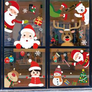 Etiquetas engomadas de la ventana de la Feliz Navidad Decoraciones de la Navidad para la pared del hogar pegatinas de vidrio Año nuevo Decoración del hogar DHB3597
