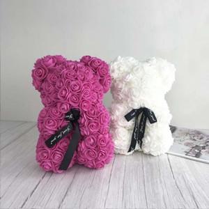 Dekoratif Çiçekler Çelenkler Bırak 25 cm Gül Ayı Yapay Çiçek Teddy Kadınlar Için Sevgililer Düğün Doğum Günü Noel Hediyesi