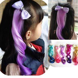 Lovely Girls Colorful Bow Curls Princess Hair Ornament Headband Hair Clips Girls Kids Performance Wig Headwear Accessories