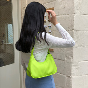 Candy Color Women Nylon Hobos Handbag Fashion Design Ladies Shoulder Bag Large Capacity Female Baguette Armpit Bags Clutch Purse Q1129