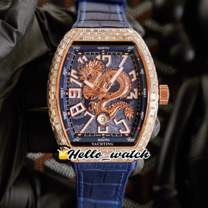 Nuevo Dragón King Vanguard Yachting V45 3D Dragon Pattern Blue Dial Reloj Mens Rose Gold Big Diamond Case Blue Leather Hello_Watch