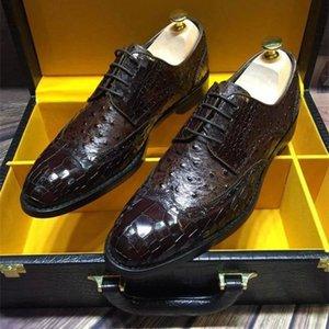 Zapatos Hombres Cuero en relieve Cuero Vino Negro Hombres Goodyear Oxfords Zapatos Vestido de novia Zapatos para Male Lace Up Party Oxfords Y200420