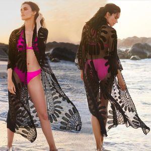2020 Sexy Summer Women Three Quarter Sleeve Floral Lace Swimwear Cardigan Bikini Cover Up Beachwear Long Cover Ups White Black