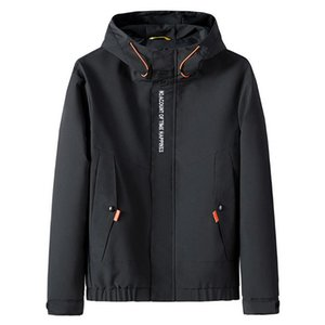 Men's Jackets Loose Casual Autumn Winter Casual Fashion Patchwork Hoodie Zipper Outdoor Sport Coat New Fashion Parka Windbreaker