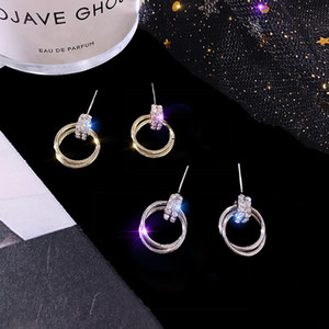 Wild Gold and Silver Earrings Women Fashion Earrings Cross Diamonds Earrings Circle Short Paragraph Jewelry Supplier