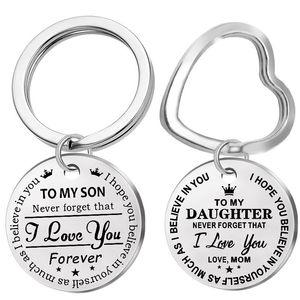 Moda Keychain de aço inoxidável gravado para o meu filho filha para sempre amor mãe keyring chaveiro charme amor pingente jóias presente 101 g2