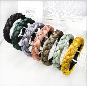 2021 Mode Hair Bands für Frauen Seide Stirnband Korea Schwarz Seide Gepolsterte Geflochtene Haarreifen Frühling GUMKI DO WLOSOW Überzogene Haarbänder