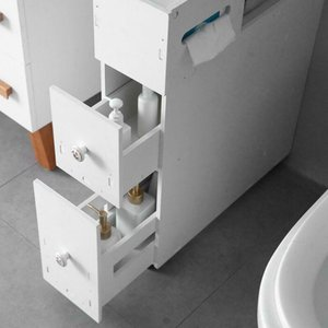New White Floor Bath Cabinet Medicine Shelf Toilet Paper Storage Bathroom Drawer