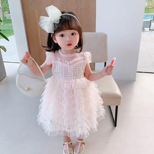 Baby-Geburtstags-Party-Ärmeln Lace Princess Little Fairy Cake Fluffy Kleinkind Mädchen Schönes Kleid Z1214