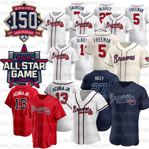 2021 Atlanta 150th Ronald Acuna Jr. Jersey Austin Riley 27 Ozzie Albies 5 Freddie Freeman Dansby 10 Swanson Chipper Jones Jerseys