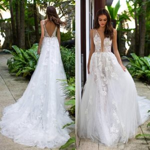 Charming Lace Beach Backless Wedding Dresses A Line Sheer Deep V Neck Beaded Bridal Gowns Tulle Sweep Train robe de mariée Robe De Mariee
