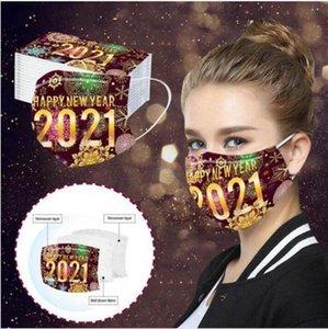 Bonne année Masque 3 Masques couches jetables adulte Imprimer antipoussière respirante Party de protection Décoration Bouche Couverture LJJP794