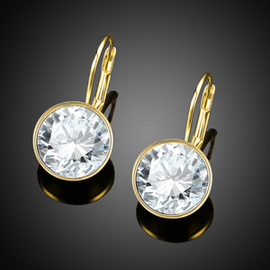 Real Gold 925 Sterling Silver Earrings With LEKANI Crystals From Swarovski Round Earrings for Women Fine Jewelry Wedding Gifts Y1130