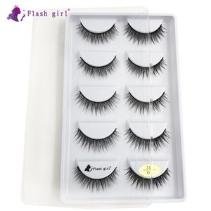 Best selling 3D-02 sample supply 5 pairs 100% handmade natural 3D mink small false eyelashes fast shipping
