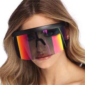 2021 Moda Yeni Güneş Kadınlar Marka Tasarım Goggle Renkli Güneş Gözlükleri Boy Kalkan Visor Erkekler Windproof Gözlük UV400