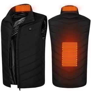 남성 여성 겨울 USB 가열 조끼 민소매 가열 재킷 냉간 가열 파카 야외 열 정수 온도 조끼 F120202