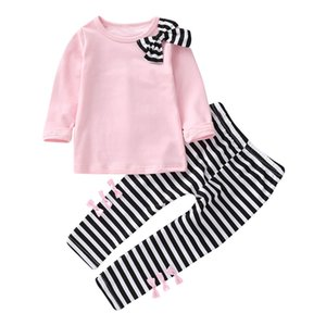 Children Suit Toddler Baby girls Clothes Kids Clothes Long Sleeve Bow T-shirt+Stripe Pants Outfits Girls Clothing Dropshipping