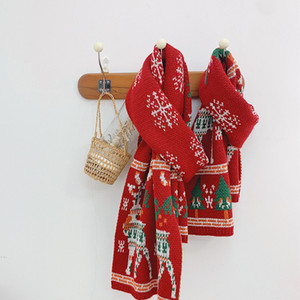 2020 Autumn Winter New Arrival Boys and Girls Christmas Style Knitted Scarf Kids Deer and Snow Scarf F1205