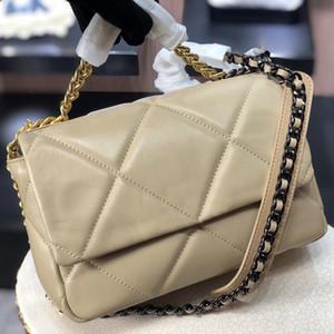 Bolsos más nuevos de las mujeres 19 bolsas de la solapa Maxi Bolsa de Crossbody de piel de cordero real con bolsas de hombro de damas de metal de oro Bolso de hombro de cuero genuino