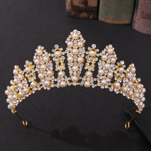 Luxury Women Wedding Headband Handmade Rhinestone Crystal Pearl Crown Gold Silver Color Tiara Bride Hair Accessories