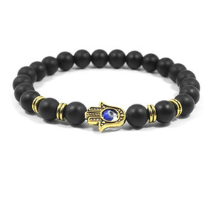1pcs New Natural Stone Alloy Fatima Hand Evil Eye Charm Bracelet beads with volcanic rock men Jewelry Lava Yoga Bracelet
