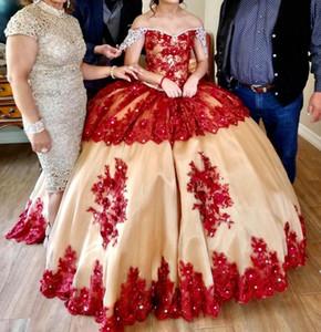 Red Lace Quinceanera Dresses robes de mariée sirène Off Shoulder Rhinestones Princess Party Dress Sweet 16 Prom Dresses Girls P125