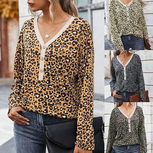 Moda de manga comprida em v pescoço Leopard Imprimir Primavera tops para mulher magro T-shirt Womens Designer Luxo Tshirts