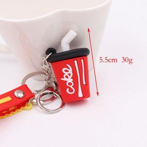 رخيصة الأزياء الشخصية هدية صغيرة المصنع مباشرة همبرغر كولا 3d قلادة محاكاة الإبداعية لينة الغذاء سلسلة امرأة سلسلة المفاتيح بالجملة