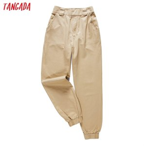 Tangada fashion woman pants women cargo high waist pants loose trousers joggers female sweatpants streetwear 5A02 201212