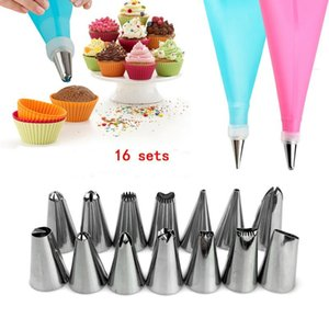 16 PCS Silicone Icing Piping Cream Pastry Bag Stainless Steel Converter Cookie Assortment Flower Decoration DIY Cake Bake-ware